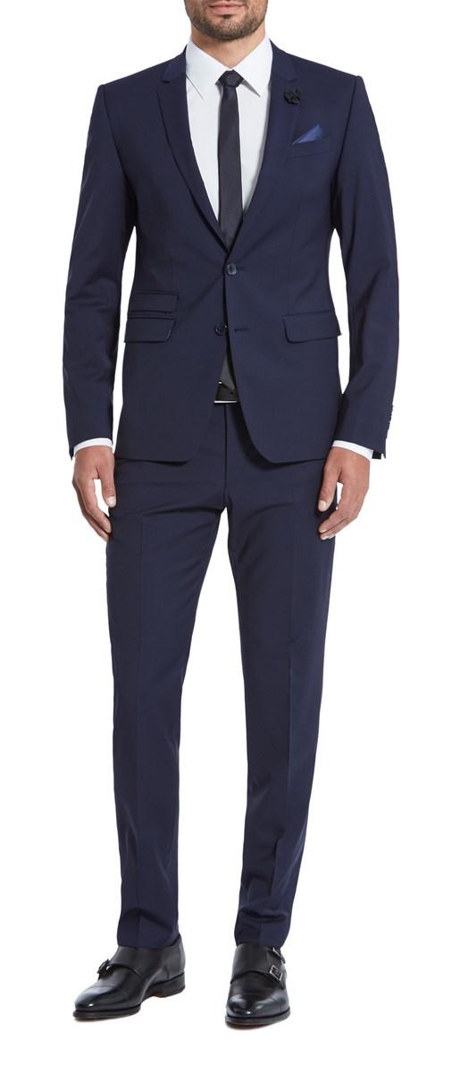 dec44dd230 Dettagli su Abito completo moda Blu scuro Digel vestibilità slim fit in  misto lana stretch